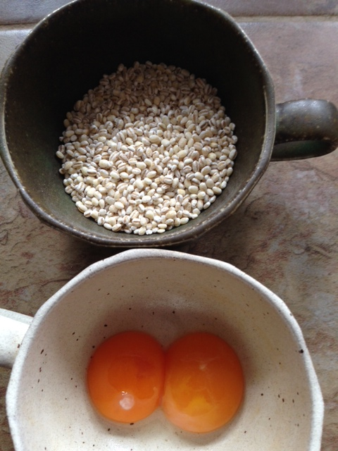 Barley and egg yolks
